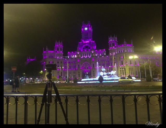 Luces de colores en el Ayuntamiento de Madrid