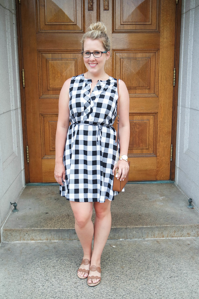 gingham dress with cognac accessories