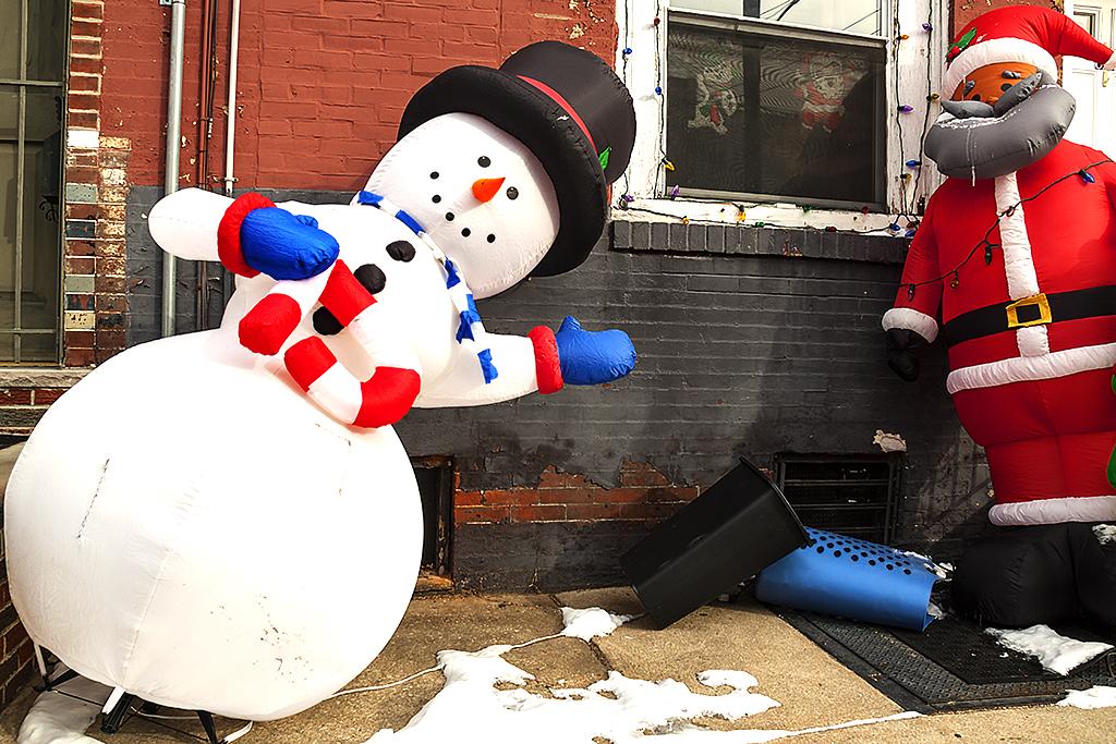 Snowman and Santa on 1-9-17--Passyunk Square