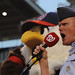 Chief Master Sgt. of the Air Force James A. Cody screams the famous words 'play ball' at Nationals Park, Washington D.C., on Sept. 18, 2015. The Washington Nationals hosted a game honoring the U.S. Air Force on its birthday. (U.S. Air Force photo by Senior Airman Hailey Haux)