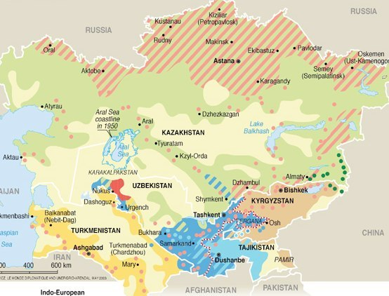 Map Of Asia 1950.Population Groups In Central Asia Grid Arendal
