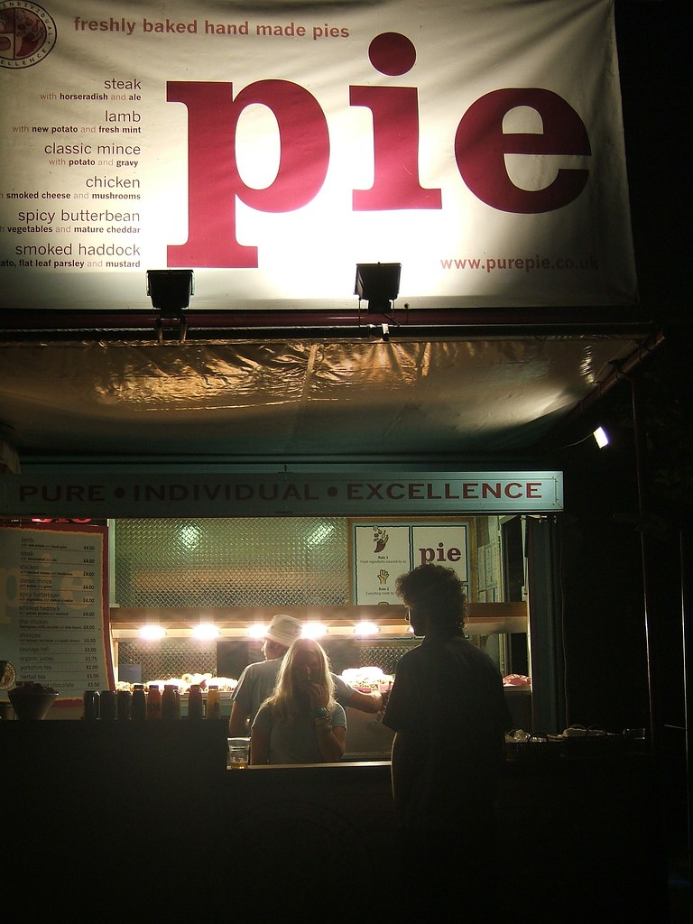 red pie at night