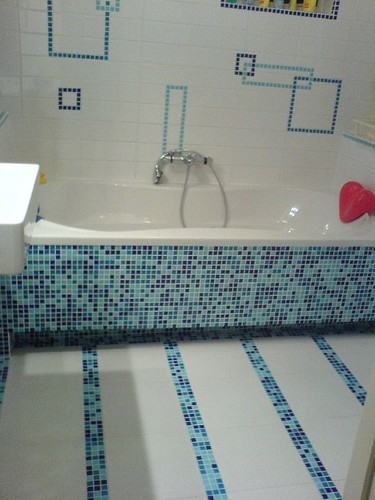 Bathroom floor with back wall - overview