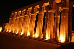 Pillars at night in Karnak