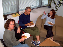 pizza lunch in the office to celebrate the launch of…