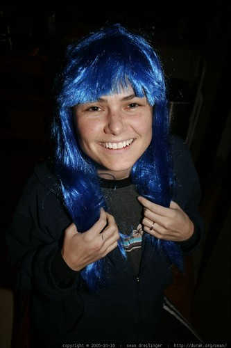 rachel in a blue wig   corpse bride to be