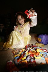 princess jane takes stock of her halloween candy