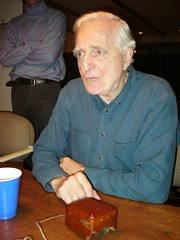 Doug Engelbart showing his invention, the computer mouse
