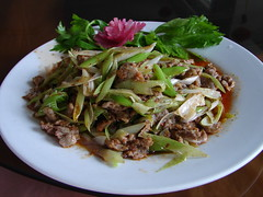 produce(0.0), chow mein(0.0), meal(1.0), salad(1.0), vegetable(1.0), meat(1.0), food(1.0), dish(1.0), larb(1.0), cuisine(1.0),