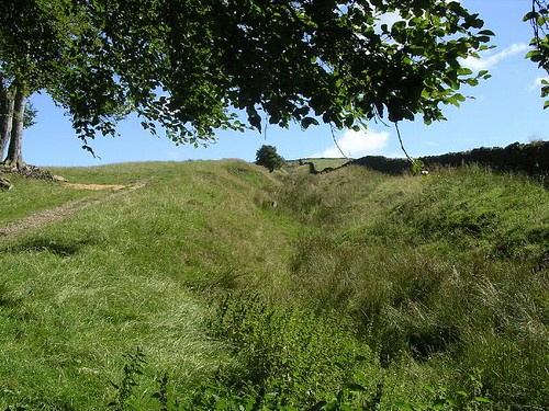 The ditch looking uphill towards Milecastle 46