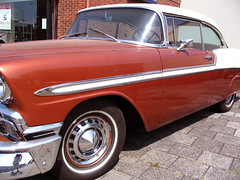 convertible(0.0), automobile(1.0), automotive exterior(1.0), 1957 chevrolet(1.0), vehicle(1.0), full-size car(1.0), chevrolet 210(1.0), antique car(1.0), chevrolet bel air(1.0), sedan(1.0), land vehicle(1.0), luxury vehicle(1.0), coupã©(1.0),