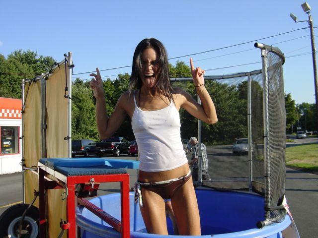 Bikini girls in the dunk tank