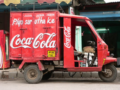 truck(0.0), soft drink(0.0), carbonated soft drinks(0.0), drink(0.0), cola(0.0), coca-cola(0.0), vehicle(1.0), light commercial vehicle(1.0),