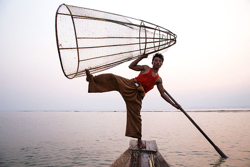 travel sunset lake net boat fishing fisherman asia burma myanmar inlelake inle