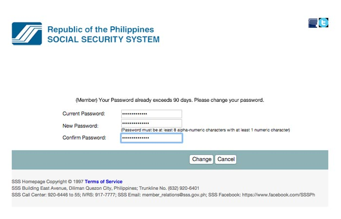 Change SSS online account password step 2
