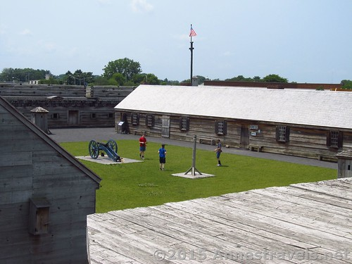 Playing Game of Graces on the green within Fort Stanwix. That's the Gregg building to the right. Fort Stanwix National Monument, New York
