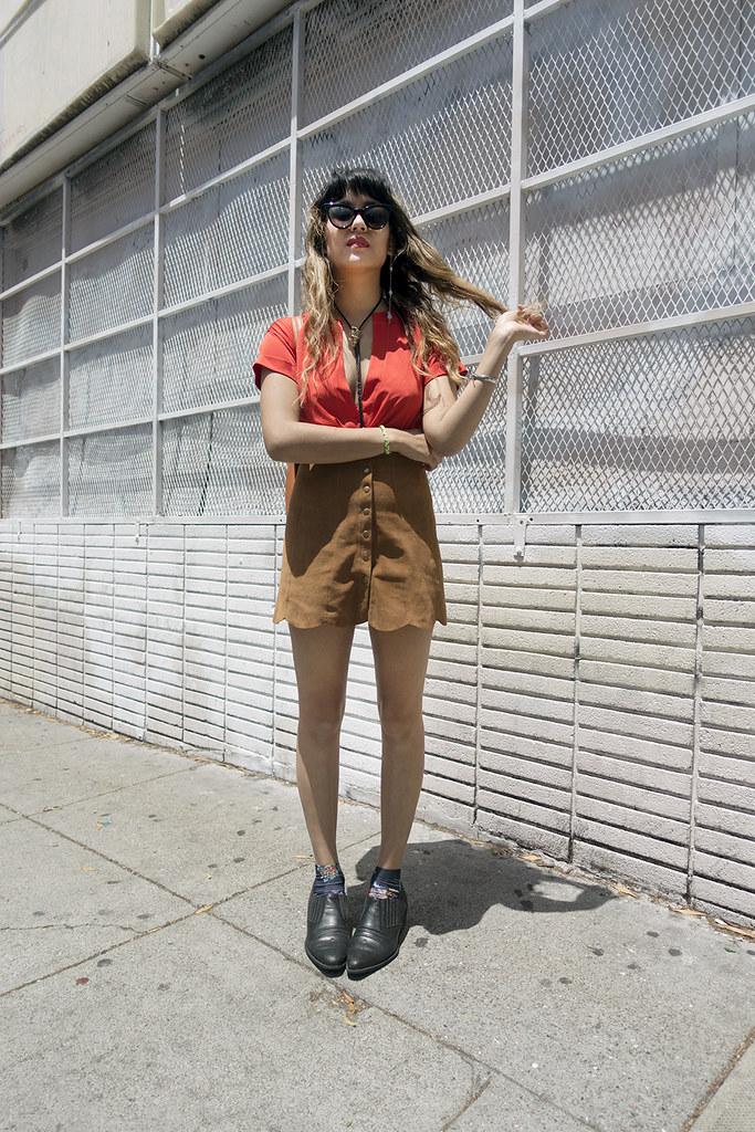 Reformation Abigail Skirt in Peanut, Wilfox La Femme Sunglasses Deluxe,