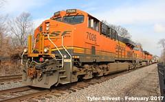 BNSF 7026 Leads WB Manifest Olathe, KS 2-11-17