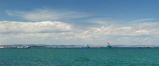 Obraz Плaж Крайморе. blue sea clouds boats boat sailing panoramic bulgaria burgas blacksea kraimorie