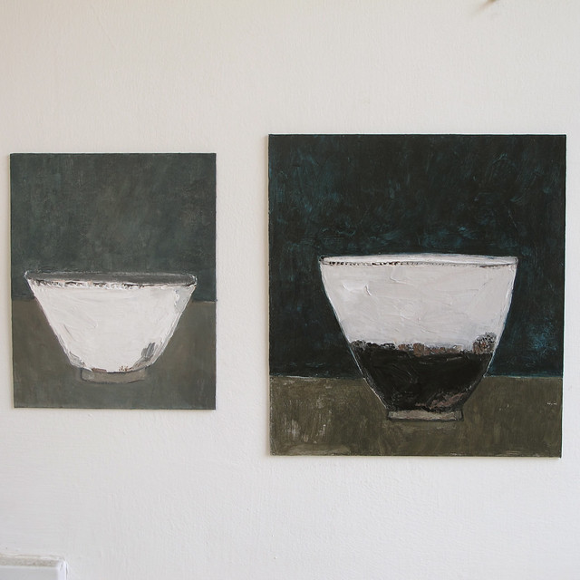 two paintings - bowl still lifes