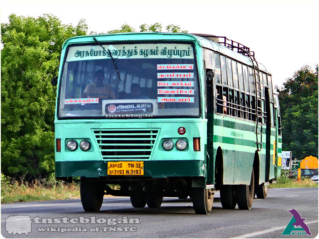 TN-32N-3193 of Sankarapuram Depot Route Kallakurichi - Adyar via Villupuram, Tindivanam, Melmaruvathur, Chengalpattu, Tambaram, Medavakkam, Velachery.