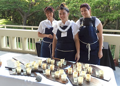 Poisson Cru (Tahitian poke - raw ahi marinated with lime and coconut milk) by Chef Kelley Pittman (center), and staff, Pili Group LLC