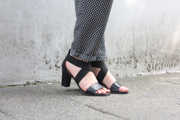 outfit: professional in relaxed printed trousers and heeled sandals