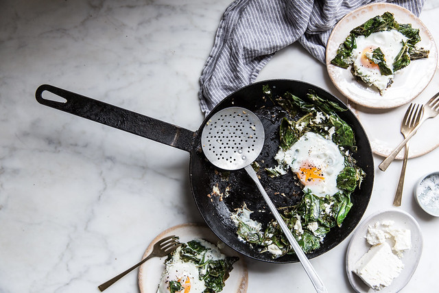 garlic ginger collard & egg skillet with feta