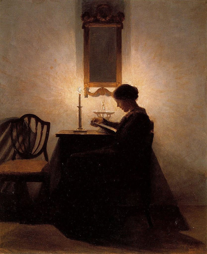 Woman Reading by Candlelight by Peter Ilsted (1861 - 1933)