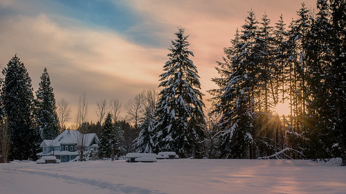 tyneheadregionalpark house victorian architecture clouds sunrays trees winter snow field picnictables shadows surrey landscape sunset outdoors nikon d7000 dslr orange warmth pathway trail footprints forest tree