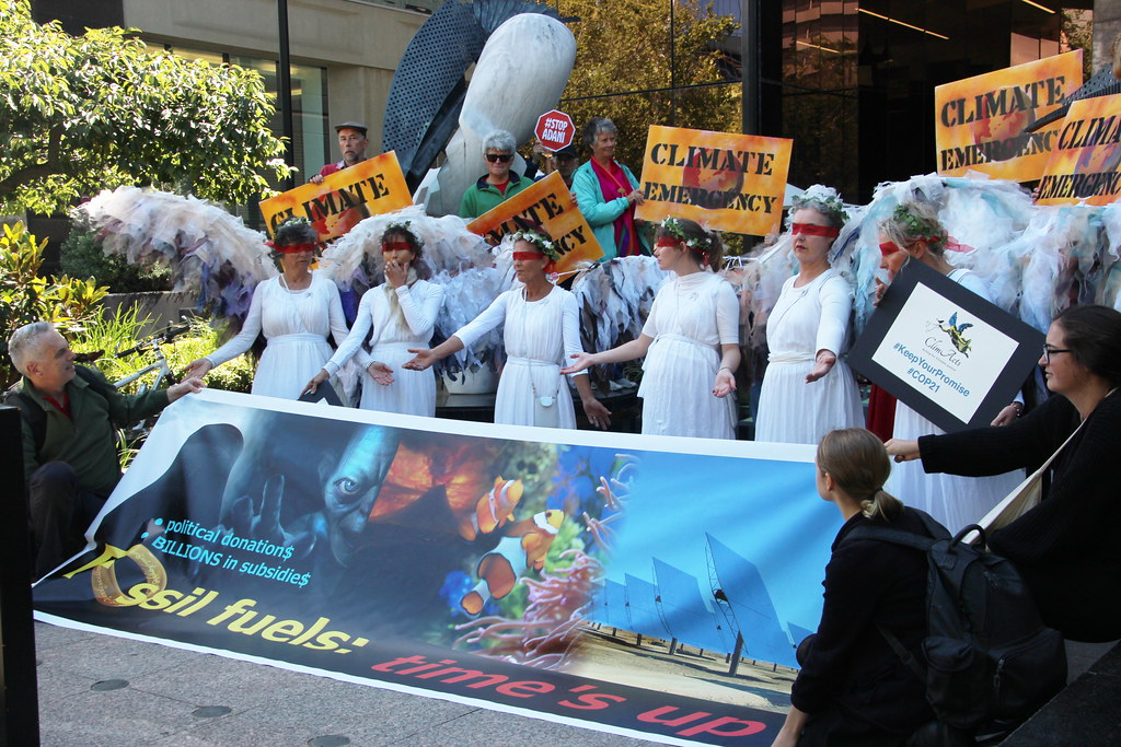 Time's up for Fossil Fuels - Climate Guardian Angels outside US consulate Melbourne