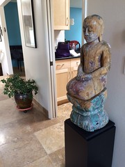 Black Laminate Pedestal withold sculpture