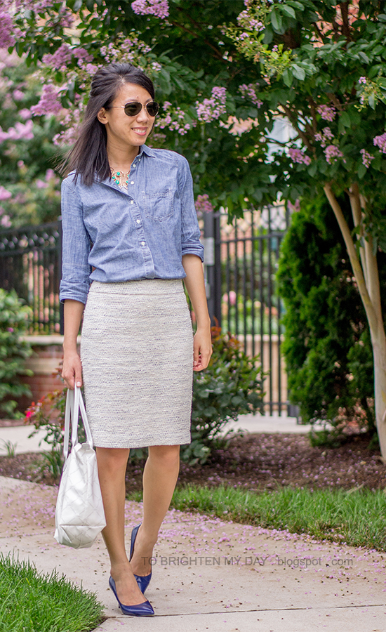 turquoise necklace, chambray shirt, tweed skirt, blue pumps