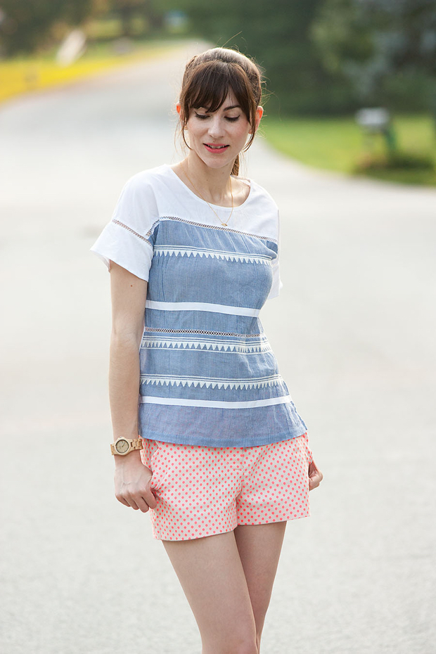J.Crew Polka Dot Shorts, J.Crew Flutter Sleeve Tee, Jord Watch