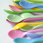 Long Melamine Spoons from Pinks and Green