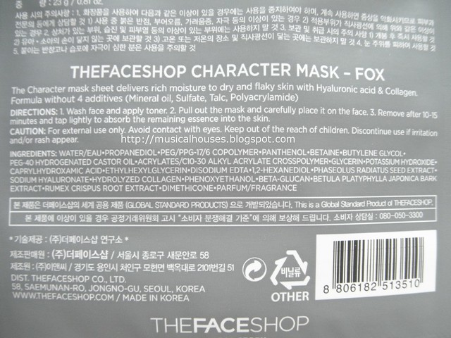 The Face Shop Character Mask Ingredients