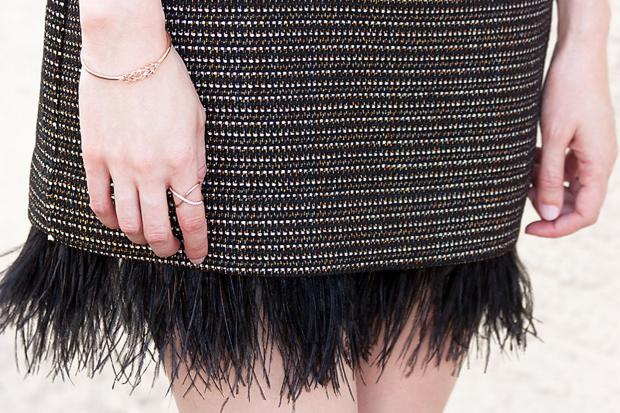 Feather Dress, Ifchic, Greylin Dress, Rose Gold Jewelry