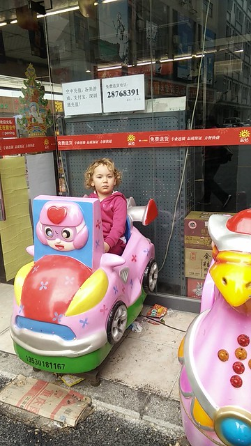Hannah in fairground car