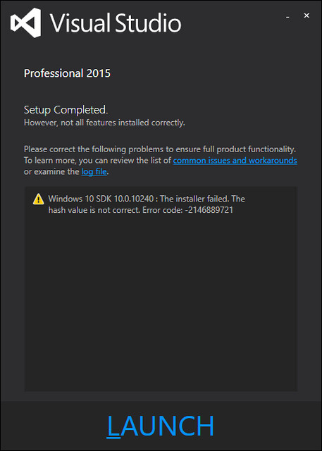 My VS2015 install failed to install Win10 SDK