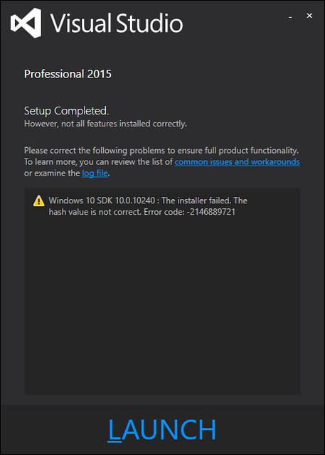 My VS2015 install failed to install Win10 SDK