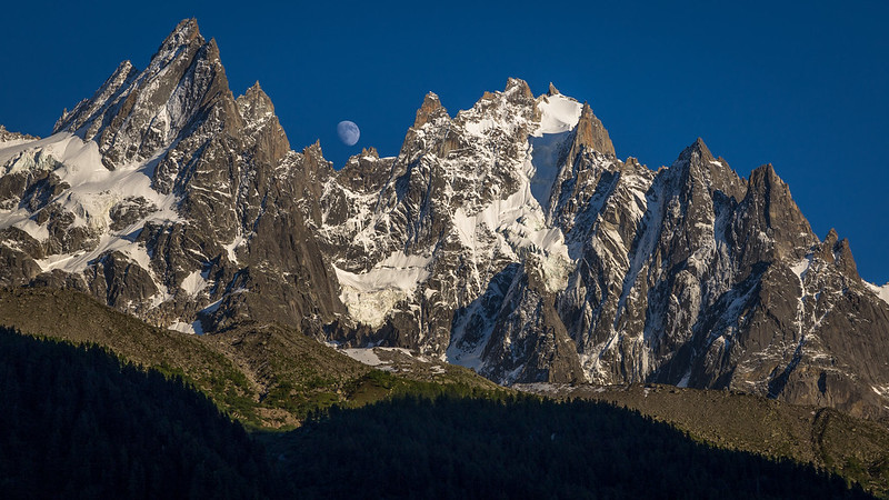 Moonrise over the Chamonix Aiguilles