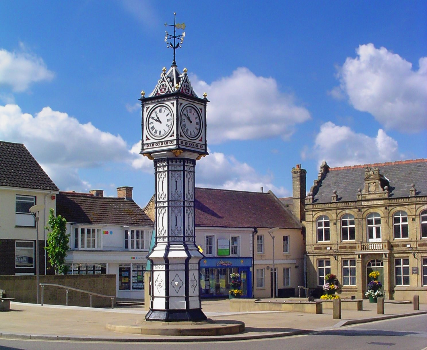 Clock Tower in Downham Market, Norfolk. Credit Uksignpix