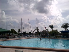 30mins of #laps & 2hrs of #tanning at our #GulfHarbors #Woodlands #Pool but with #Clouds nearing ... #Lunch time !