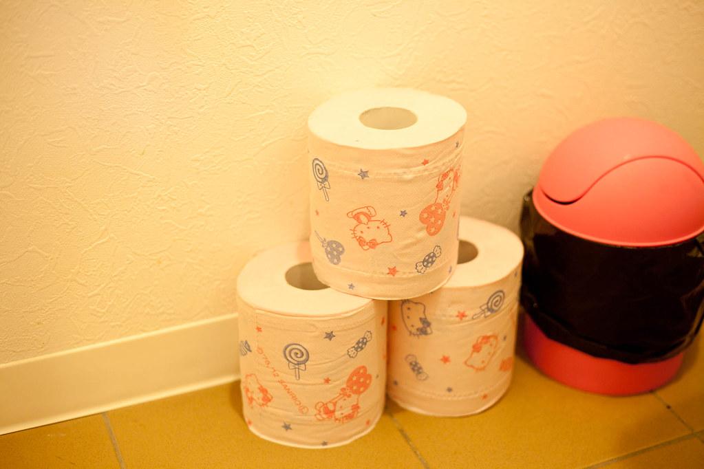 我得用  Hello Kitty 的衛生紙,真爽,可以用大便弄髒他