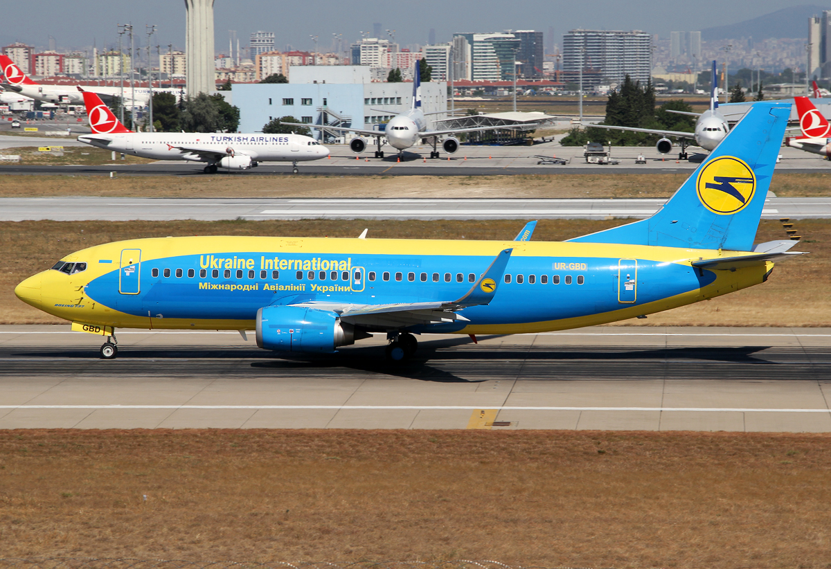 Speeding up on RWY35L for departure to Kiew KBP. Delivered 05/1997 to dba. Basic Aerosvit colors.