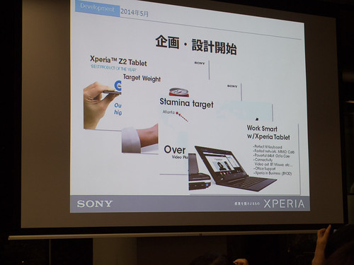 Xperia アンバサダー ミーティング スライド Xperia Z4 Tablet 開発コンセプト Work Smart with Xperia Tablet
