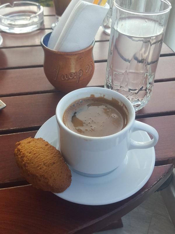 Greek coffee and finiki in Armenistis