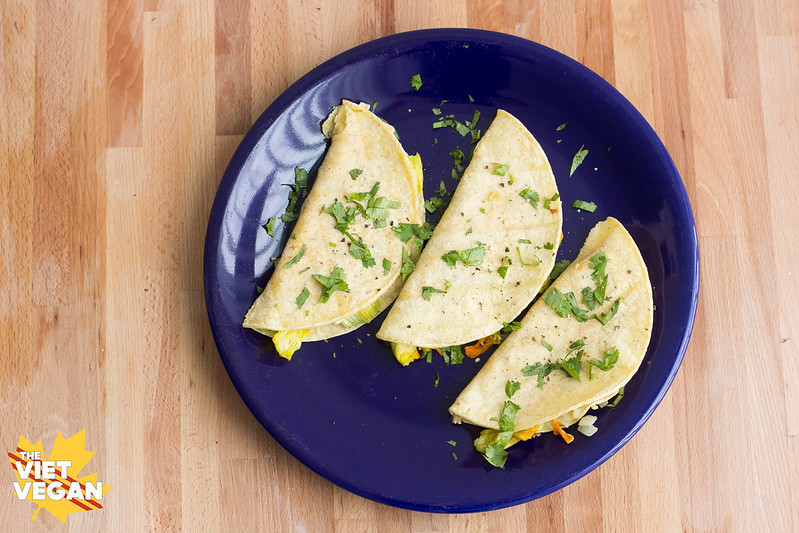 Vegan Zucchini Blossom Quesadillas | The Viet Vegan