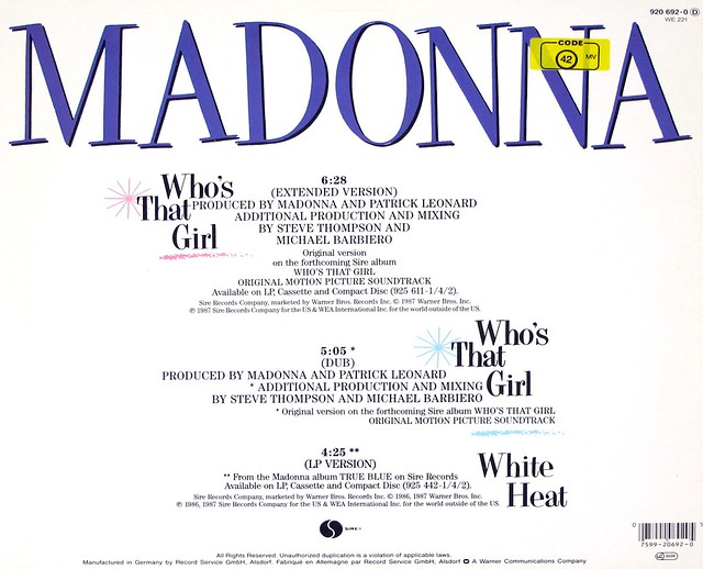 "MADONNA - Who's That Girl 12"" MAXI-SINGLE"