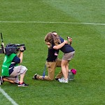 Halftime grounds crew marriage proposal